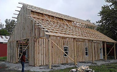Outside view of construction of Hunt Club Distillery building