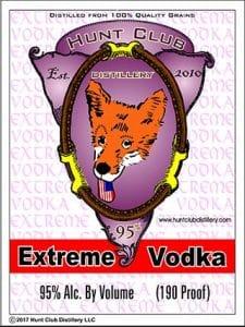 Hunt Club Extreme Vodka label