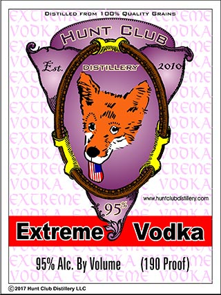Hunt Club Extreme Vodka label