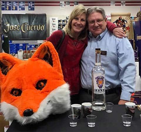 Soupley's Vodka Tasting with customer