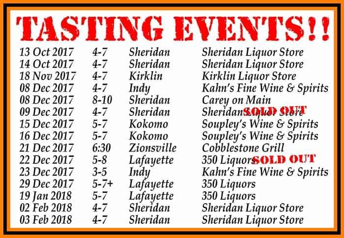 Tasting event dates