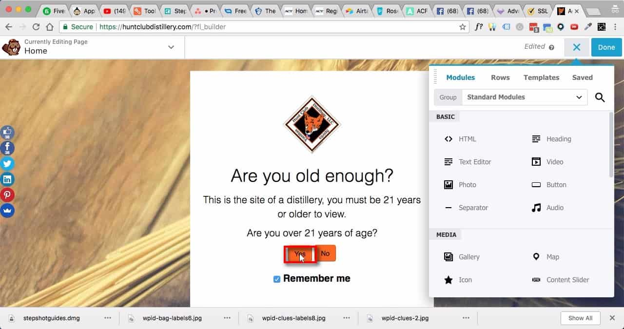 Edit Home Page:;If the Age Verification box appears, simply click on the 'Yes'.