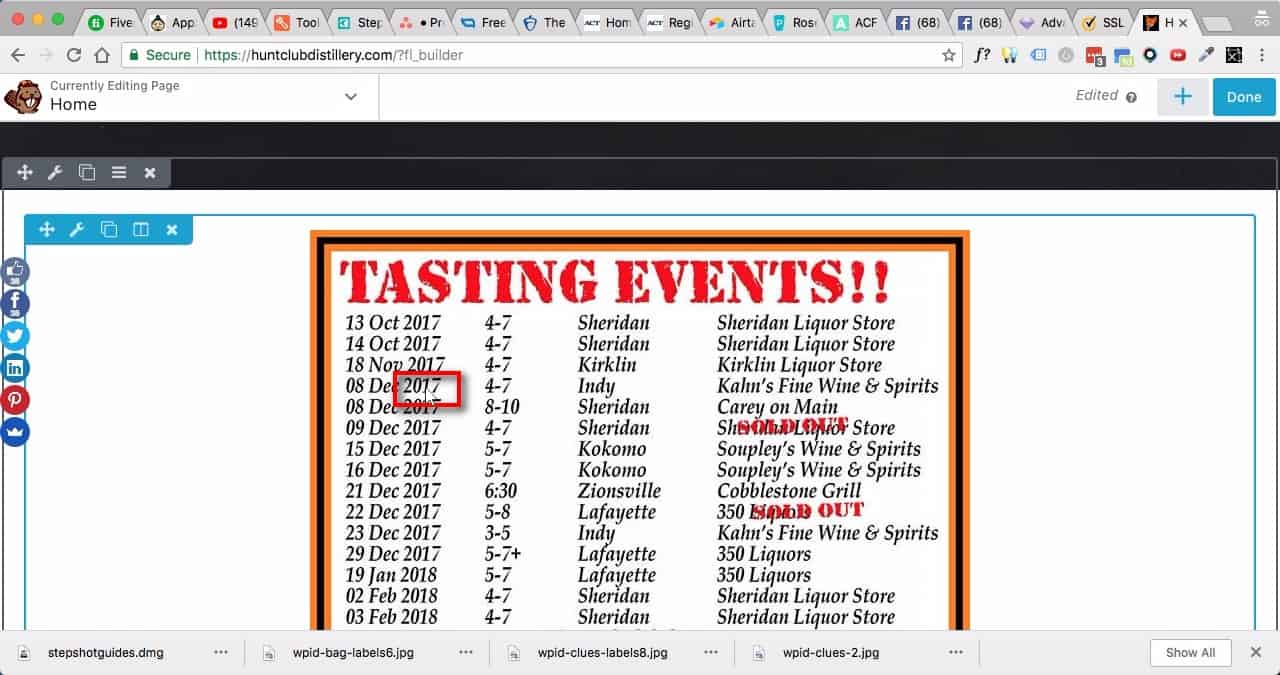 Edit Home Page:;1. Scroll down to where you see the 'Tasting Events' image. 2. Click once anywhere on the image itself.