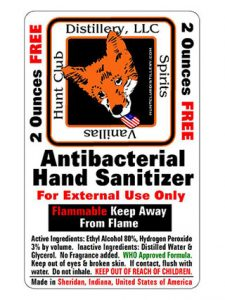 Hand Sanitizer at Hunt Club Distillery